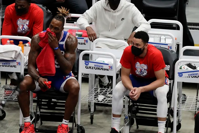 Sixers guard Ben Simmons and center Dwight Howard on the bench late in the third quarter against the Washington Wizards in Game 4 of their first round NBA playoff series in Washington D.C., on Monday, May 31, 2021.