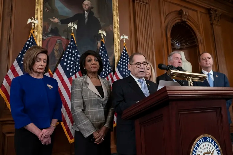 From left, House Speaker Nancy Pelosi and Reps. Maxine Waters, Jerrold Nadler, Carolyn Maloney, Richard Neal, and Adam Schiff announce they are pushing ahead with two articles of impeachment against President Donald Trump.