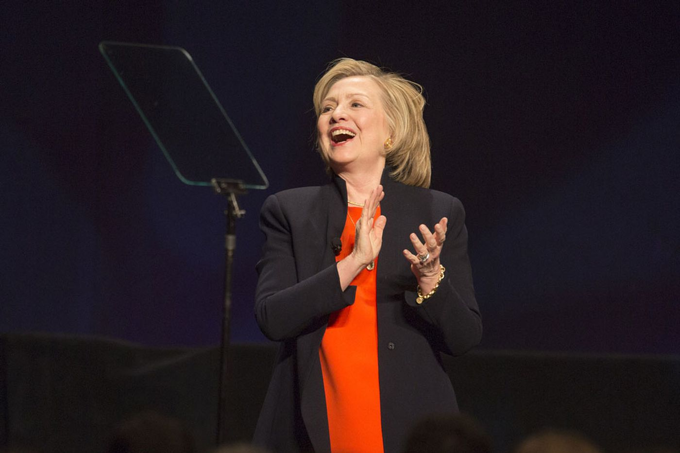 In A.C., Clinton hints at campaign themes