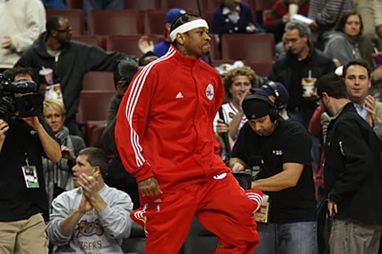 Allen Iverson scored 11 points, dished out a team-high six assists and brought down five rebounds last night. (Yong Kim/Staff Photographer)