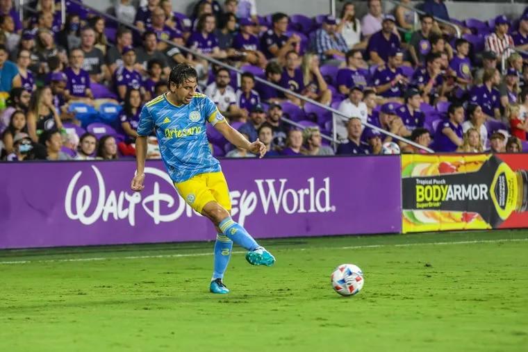 Alejandro Bedoya on the ball during the Union's 2-1 loss at Orlando City on Thursday.