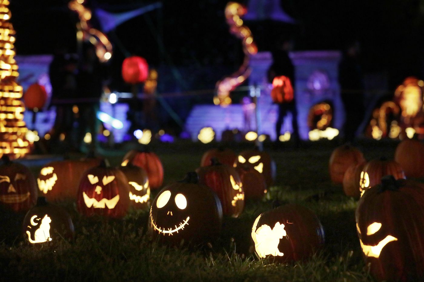 What's the trick to the Instagram-friendly jack-o'-lanterns in Fairmount Park? Molded foam.