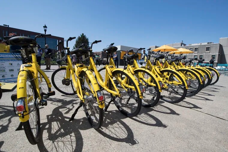New OFO rental bikes are shown at Roosevelt the Plaza Park in N. 5th Street Camden, N.J. Tuesday, May 1, 2018. Camden's new bike-share program debuts Tuesday with 200 bicycles available for riders to take for a spin for as little as $1 an hour. JOSE F. MORENO / Staff Photographer