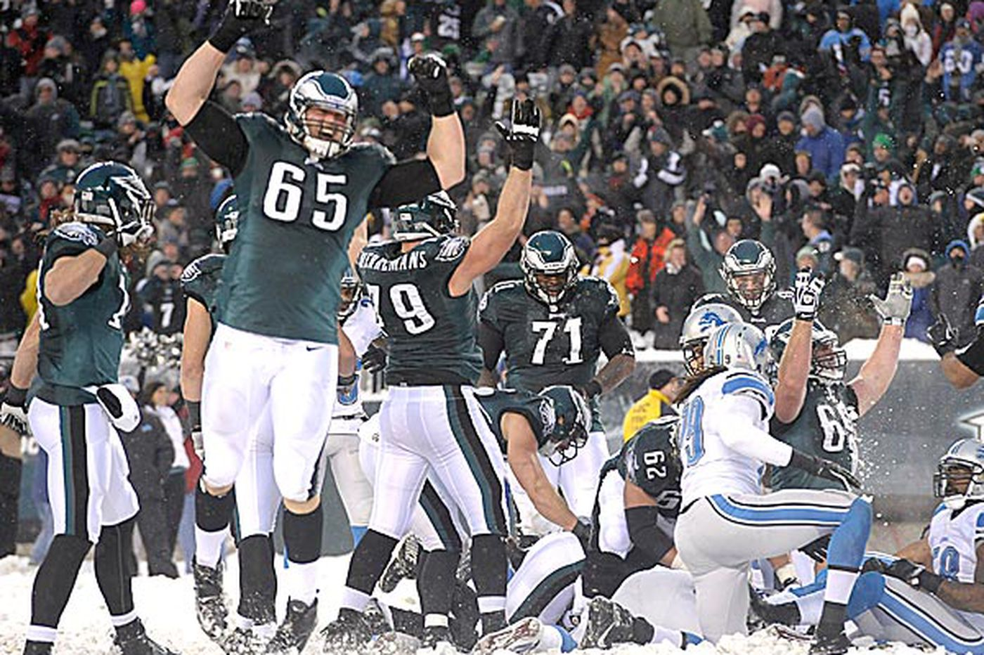 Eagles' o-line plows running path
