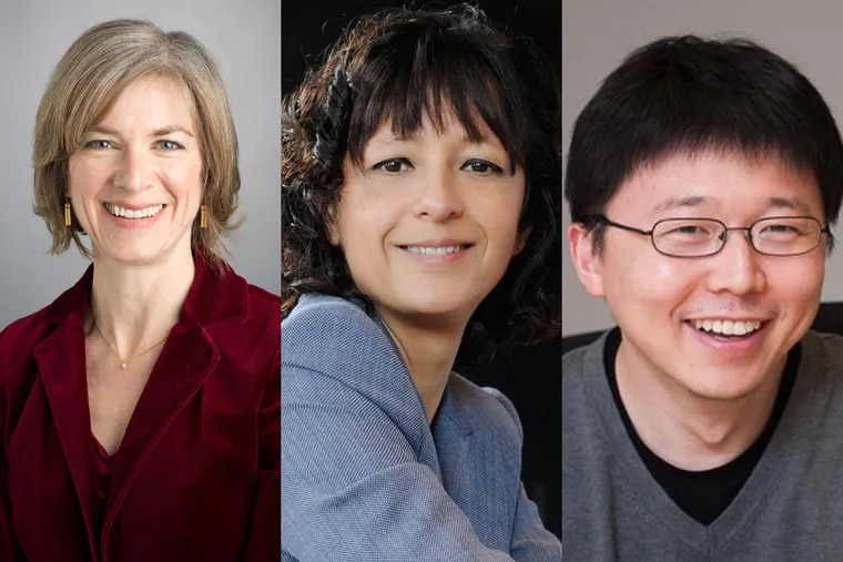 Jennifer Doudna (left) of the University of California at Berkeley, collaborated on CRISPR with Emmanuelle Charpentier (center), of the Max Planck Institute for Infection Biology in Germany. Feng Zhang (right), a researcher at the Massachusetts Institute of Technology and the Broad Institute, leads a rival team working on the gene-editing technique.