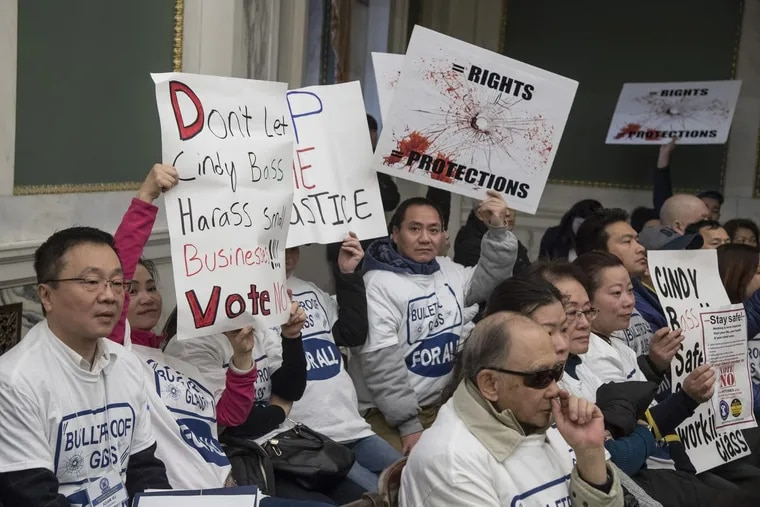 Hundreds gather inside City Council Chambers on Dec. 4, 2017 to rally against a bill introduced by Councilwoman Cindy Bass that would force beer deli owners to take down protective safety windows in their establishments.