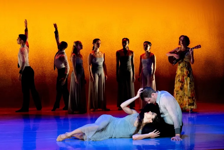 """BalletX dancers Francesca Forcella and Zachary Kapeluck (foreground) in Matthew Neenan's """"Sunset, o639 Hours."""""""