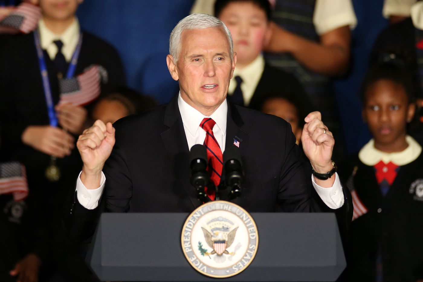 Vice President Mike Pence pushes school choice during visit to Catholic elementary in West Philadelphia