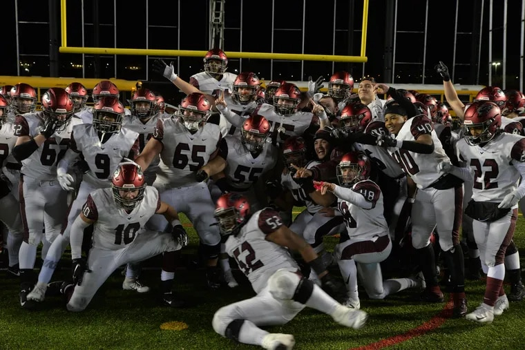 St. Joseph's Prep celebrates 35-13 win over Central Dauphin in the PIAA Class 6A State Football Championship in Hershey.
