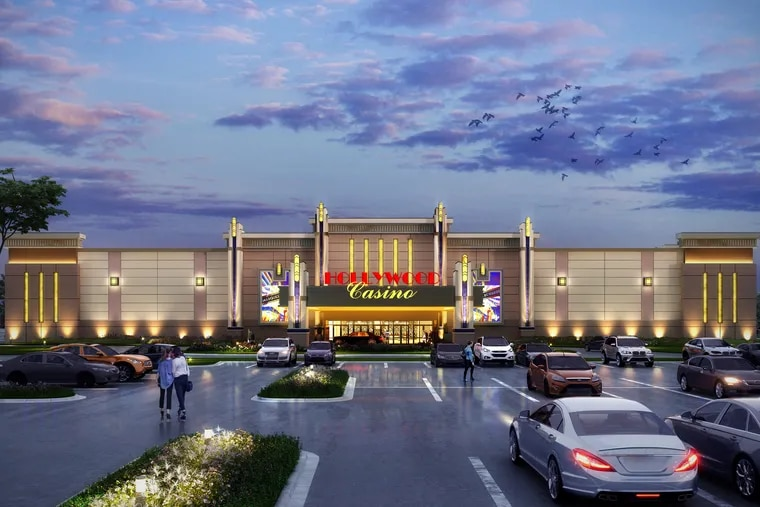 """Artist's rendering of the proposed Hollywood Casino Morgantown, Penn National Gaming's """"mini-casino"""" being built Berks County. State regulators on Wednesday approved a license for the company's second satellite casino, the Hollywood Casino York, which will occupy a former Sears department store mall location . (Courtesy of Penn National Gaming Inc.)"""