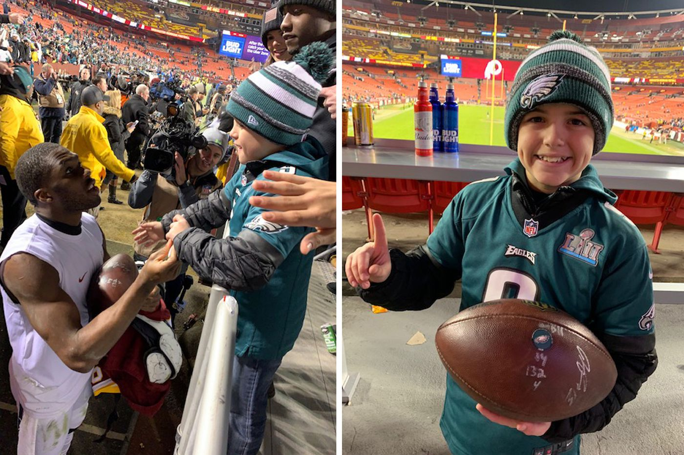 Young Eagles fan on giving Nate Sudfeld back his football: 'He's the player. He earned it more.'