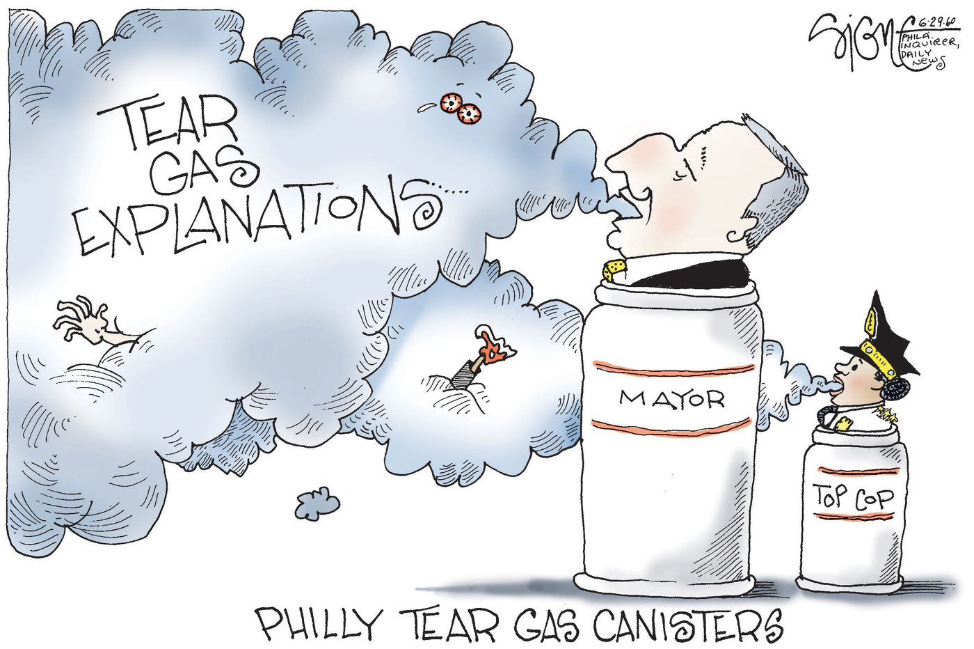 Political Cartoon: Philly's tear gas explanations bring tears to our eyes