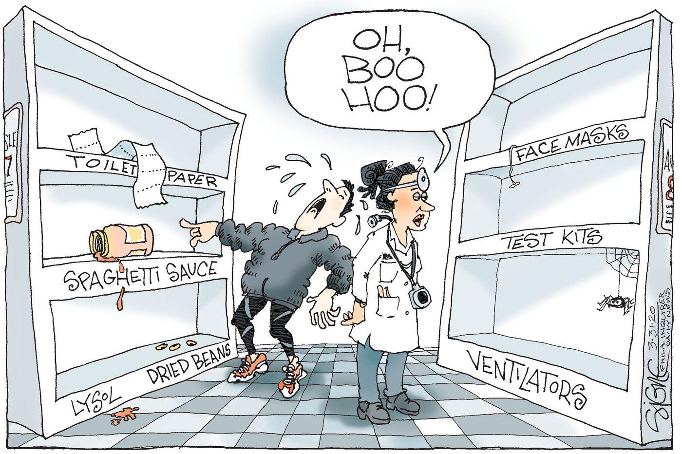 Political Cartoon: Coronavirus shoppers face empty shelves