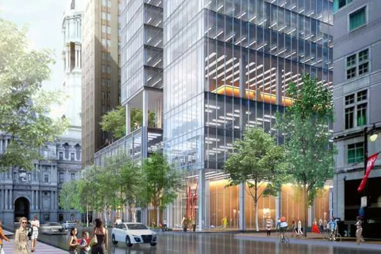 Artist's rendering of office building planned at 1301 Market St. in Philadelphia, as seen from street level.
