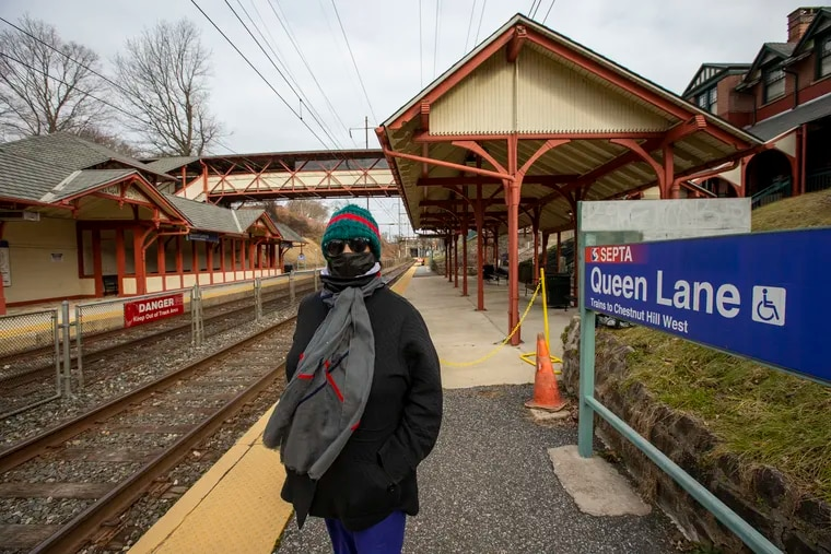 Ronnie Hart, a former Chestnut Hill West Line commuter on the outbound side of Queen Lane Station.