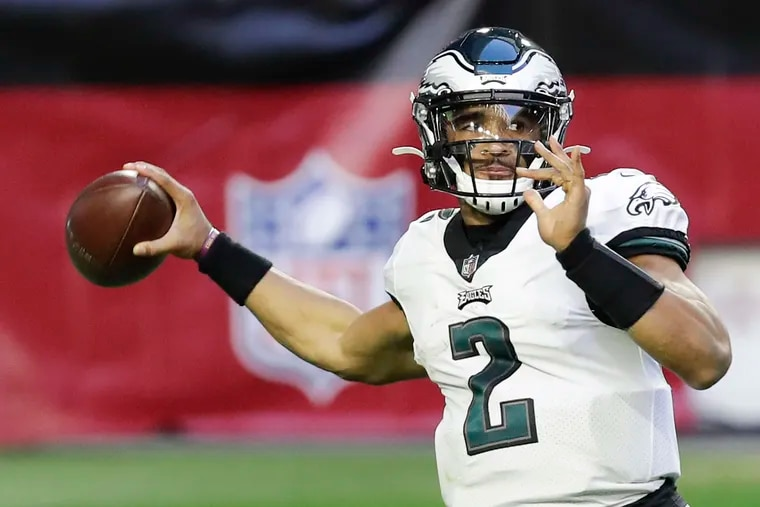 Eagles quarterback Jalen Hurts threw for 338 yards in Sunday's 33-26 loss to the Arizona Cardinals.