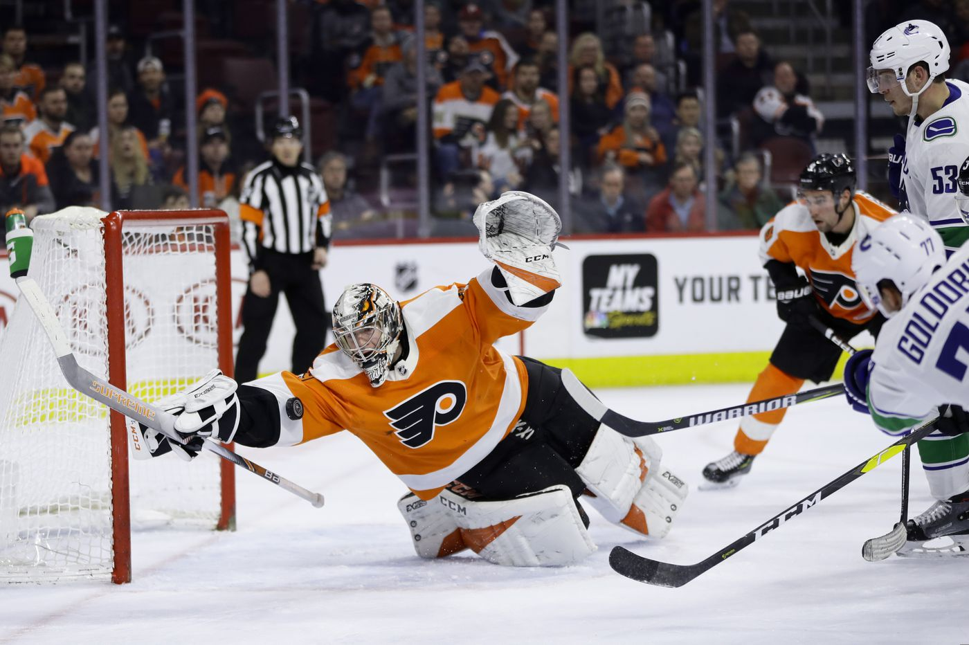Video of Carter Hart's remarkable save, and what the Canucks were saying