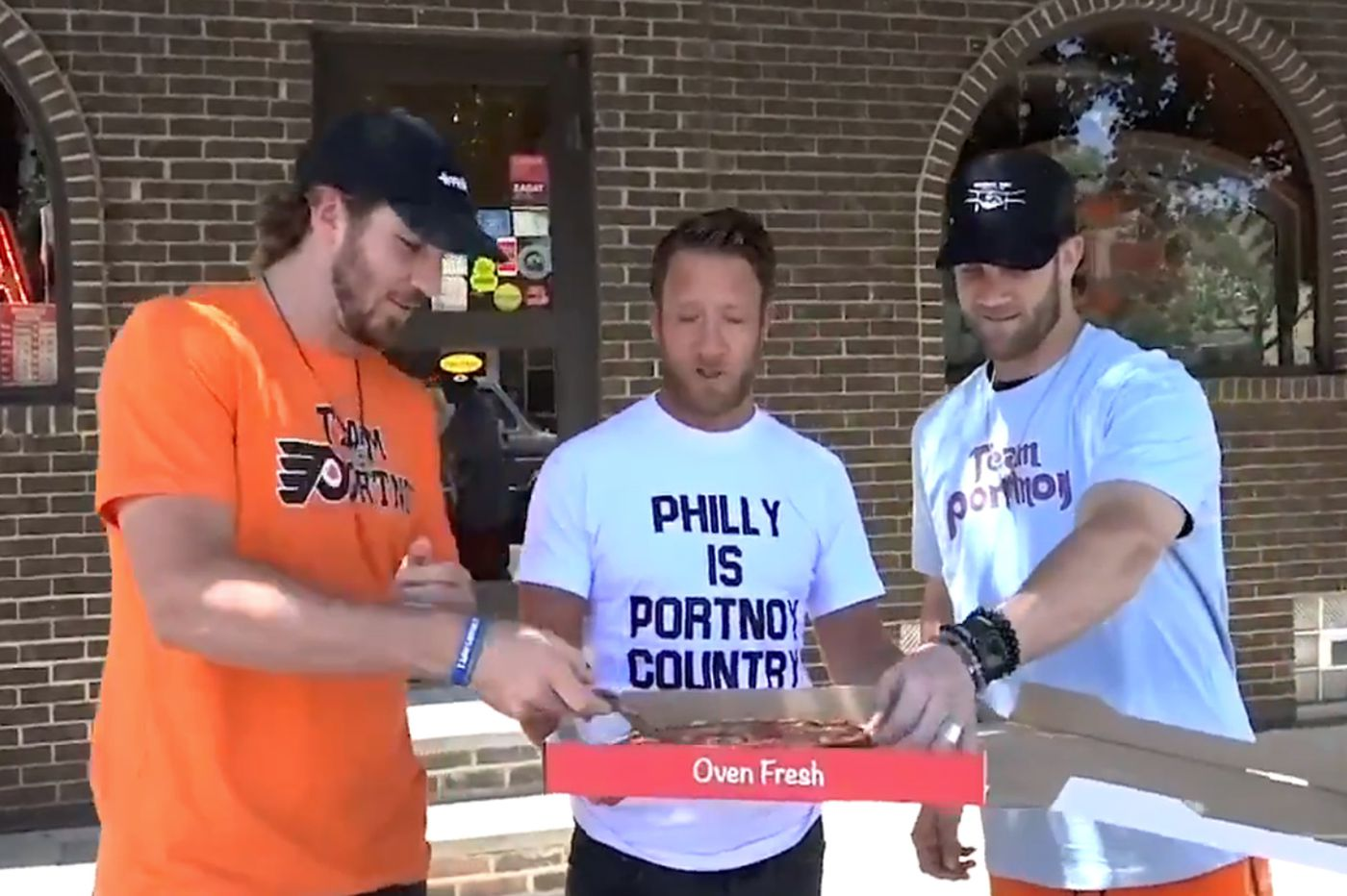 Bryce Harper and Kevin Hayes try Tacconelli's Pizza with Barstool Sports' Dave Portnoy, who declares truce wit