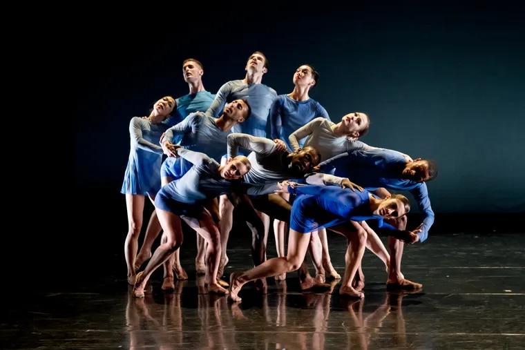"""BalletX dancers Francesca Forcella, Stanley Glover, Zachary Kapeluck, Blake Krapels, Skyler Lubin, Chloe Perkes, Roderick Phifer, Caili Quan, Richard Villaverde, Andrea Yorita in Wubkje Kuindersma's """"Yonder."""""""