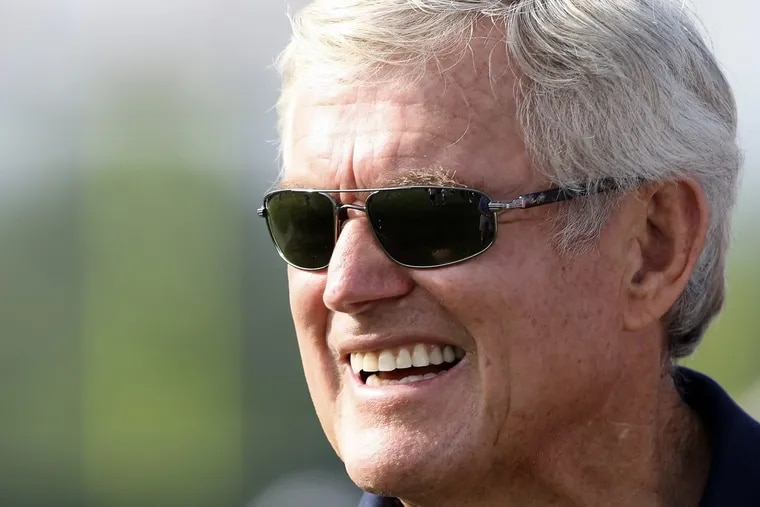 Former Eagles head coach Dick Vermeil watches during the morning workouts at Eagles Training Camp at Lehigh University in 2010.