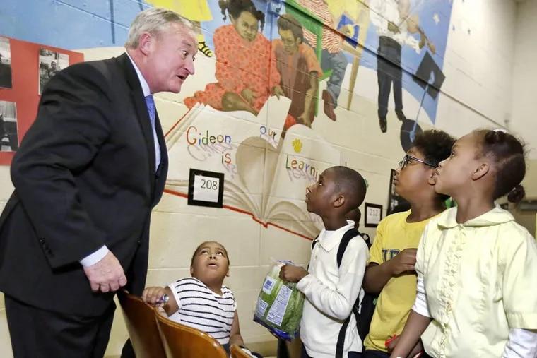 Mayor Kenney jokes with students at Gideon Elementary, a Philadelphia community school.