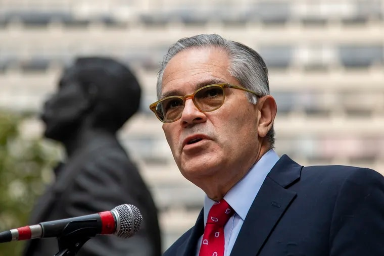 Philadelphia District Attorney Larry Krasner during an October news conference outside City Hall.