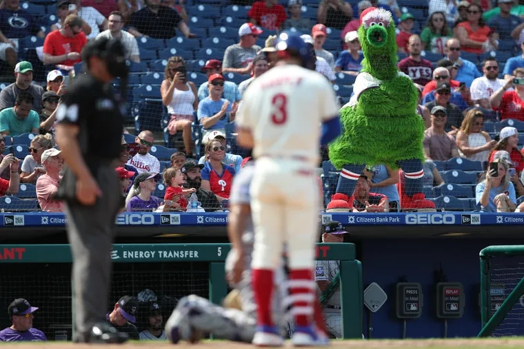 The Phanatic watches Bryce Harper step into the batter's box Sunday at Citizens Bank Park.
