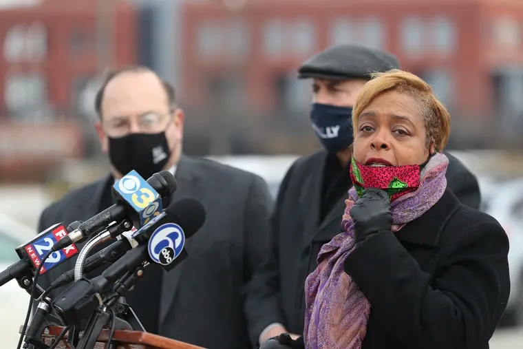 Councilmember Cindy Bass speaks during a news conference alongside other councilmembers outside Lincoln Financial Field on Wednesday. They called on Mayor Jim Kenney to create a mass vaccination site at the stadiums.