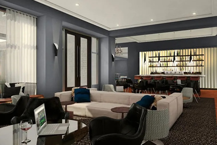 A rendering of the lobby bar of the Logan hotel, which will open in Philadelphia's Logan Square.