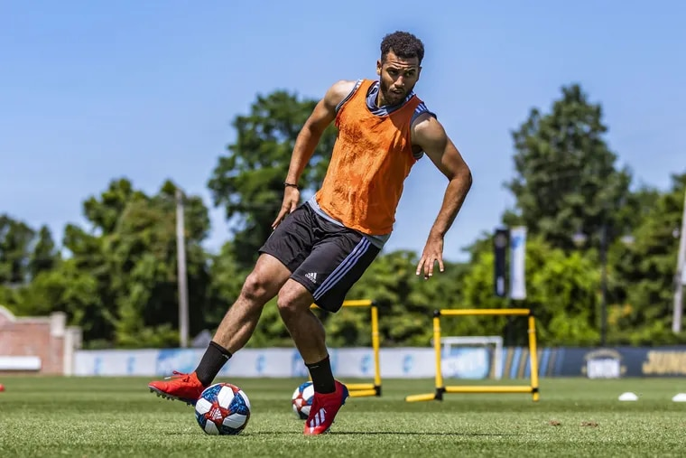 New Philadelphia Union striker Andrew Wooten in action during a recent practice session.