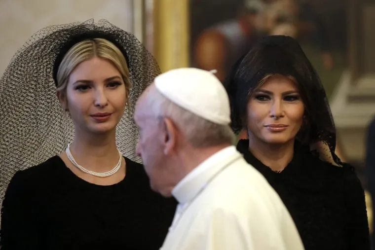 Pope Francis walks past Ivanka Trump, left, and First Lady Melania Trump on the occasion of the private audience with President Donald Trump, at the Vatican, Wednesday, May 24, 2017. (AP Photo/Alessandra Tarantino, Pool)