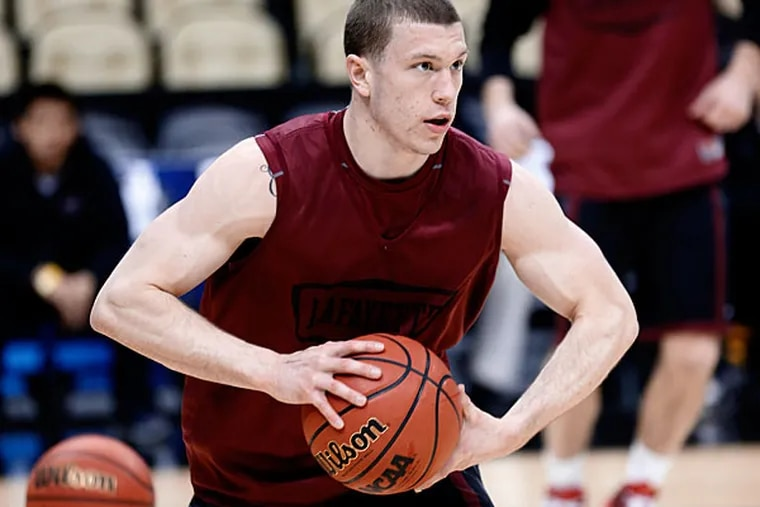 Lafayette's Nick Lindner looks to pass during practice at the NCAA college basketball tournament in Pittsburgh, Wednesday, March 18, 2015. Lafayette plays Villanova in the second round on Thursday. (AP Photo/Keith Srakocic)