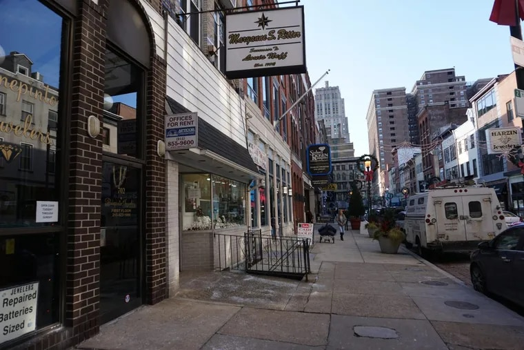 Several properties on Jewelers Row would be leveled under Toll Bros. plan for a residential tower on the Center City shopping street.