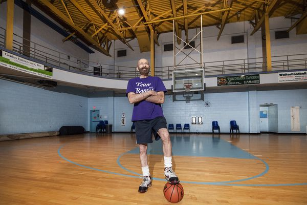 He's been playing basketball for 70 years, and he's still got a killer hook shot