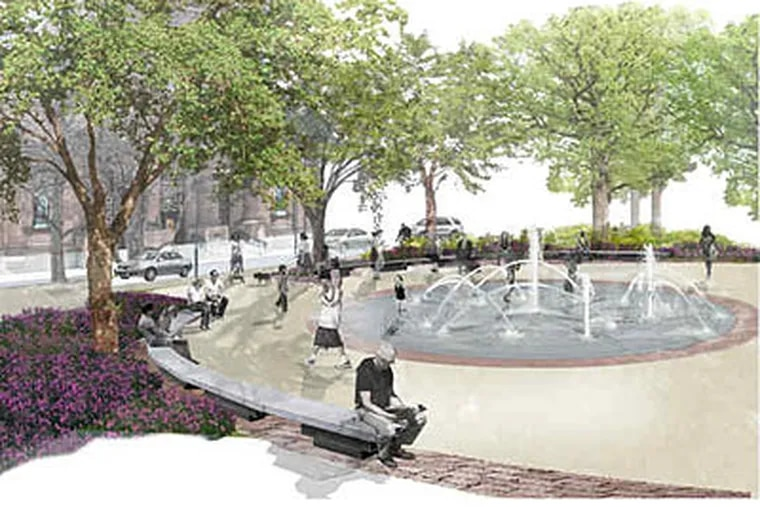 A fountain with nine jets is shown in a rendering of the planned Sister Cities Plaza. The development will offer a lot of activity on a 1.75-acre site on Logan Square. (Artist's Rendering)