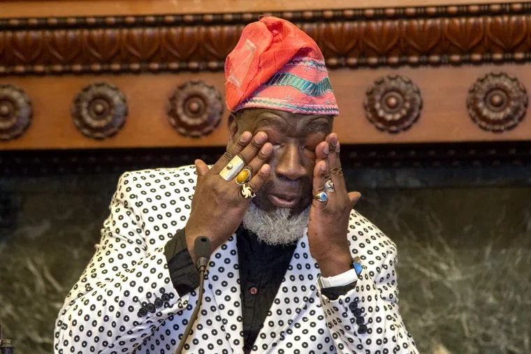 Bassist Jamaaladeen Tacuma wipes away tears after he was presented with the 2018 Benny Golson Award by the mayor at City Hall March 29, 2018. The city kicks off Philly Celebrates Jazz, a celebration of Jazz Appreciation Month in April.