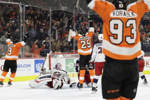 Late eruption gives Flyers stunning 7-4 win over Columbus as James van Riemsdyk scores a pair