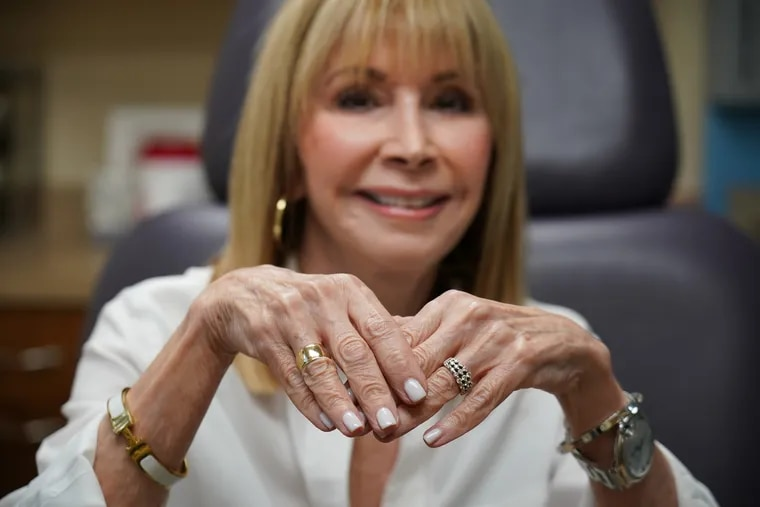 Connie Veneri-Kelley prior to receiving a restalyne lift hand treatment at Davis Cosmetic Plastic Surgery, in New Jersey, October 11, 2018. JESSICA GRIFFIN / Staff Photographer