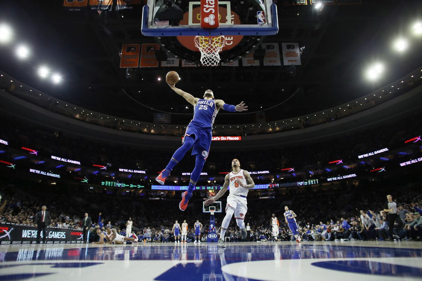 Joel Embiid leaves with facial contusion, but Dario Saric wills Sixers to win over Knicks