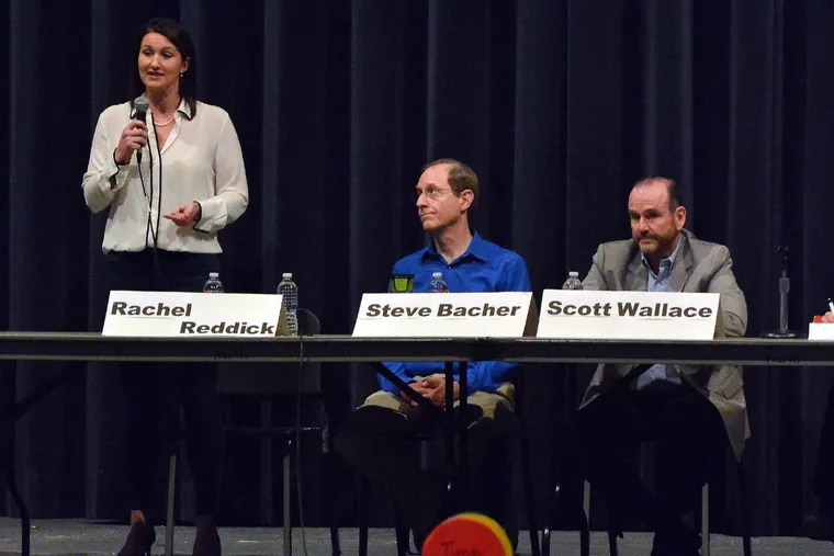Congressional candidates (L-R) Rachel Reddick, Steve Bacher and Scott Wallace at a forum in Bucks County.