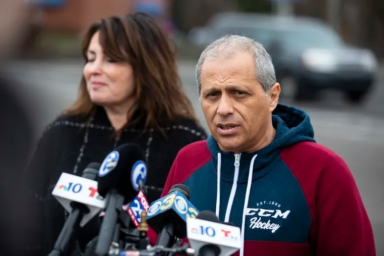 Mark Ingerman, son-in-law of Yulia Sherman, 82, pleads for information Friday about the hit-and-run driver who killed Sherman about 6 p.m. the previous evening on Bustleton Avenue near the NetCost Market in Somerton. Standing with him is his wife, Alla Sherman.