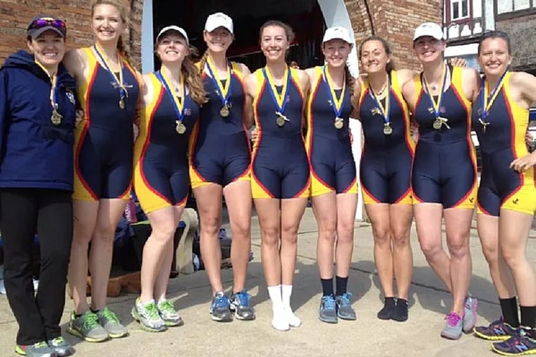 Drexel's novice eight boat members wearing their first-place medals from  Kerr Cup on April 20. (Credit: Drexel University)