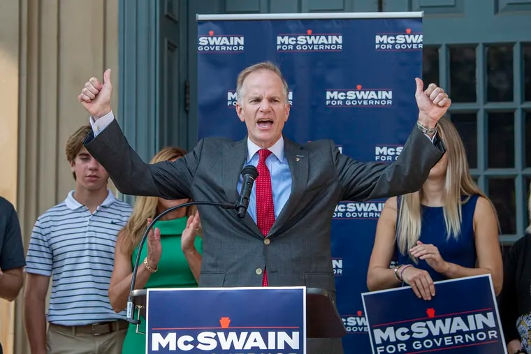 Former U.S. Attorney Bill McSwain announces his Republican campaign for Pennsylvania governor on Monday outside the Chester County Courthouse  in West Chester, Pa.