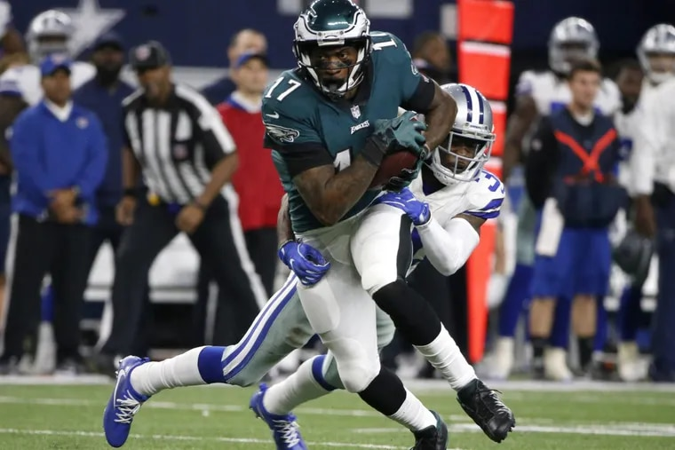 Eagles wide receiver Alshon Jeffery (17) catches a pass in front of the Cowboys' Anthony Brown.