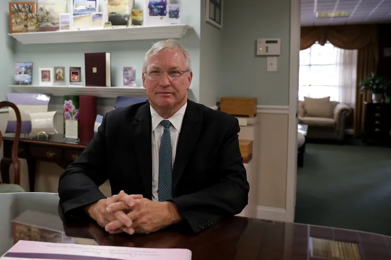 LeRoy Wooster, owner of Wooster Funeral Home, at his funeral home in Atco. A new New Jersey law now allows funeral homes to serve food and beverages. Wooster is planning to have a coffee lounge.