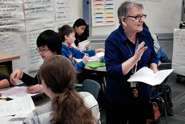 School librarian Bernadette Kearney has managed to hold on to her job, but it hasn't been easy. She lost her job to budget cuts in 2013, but was back at work when a donor stepped up. She held on a second time after being assigned classes as a teacher.