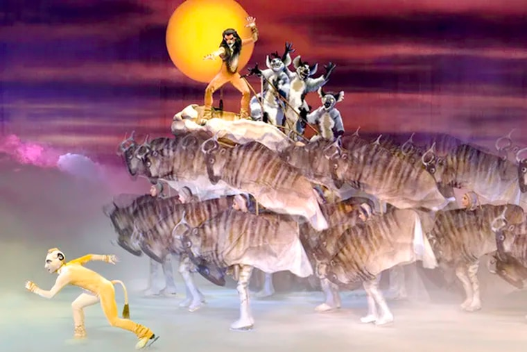 """From Disney on Ice's """"Worlds of Fantasy,"""" Simba and Scar join in the stampede from """"The Lion King."""" """"The Little Mermaid"""" also appears."""