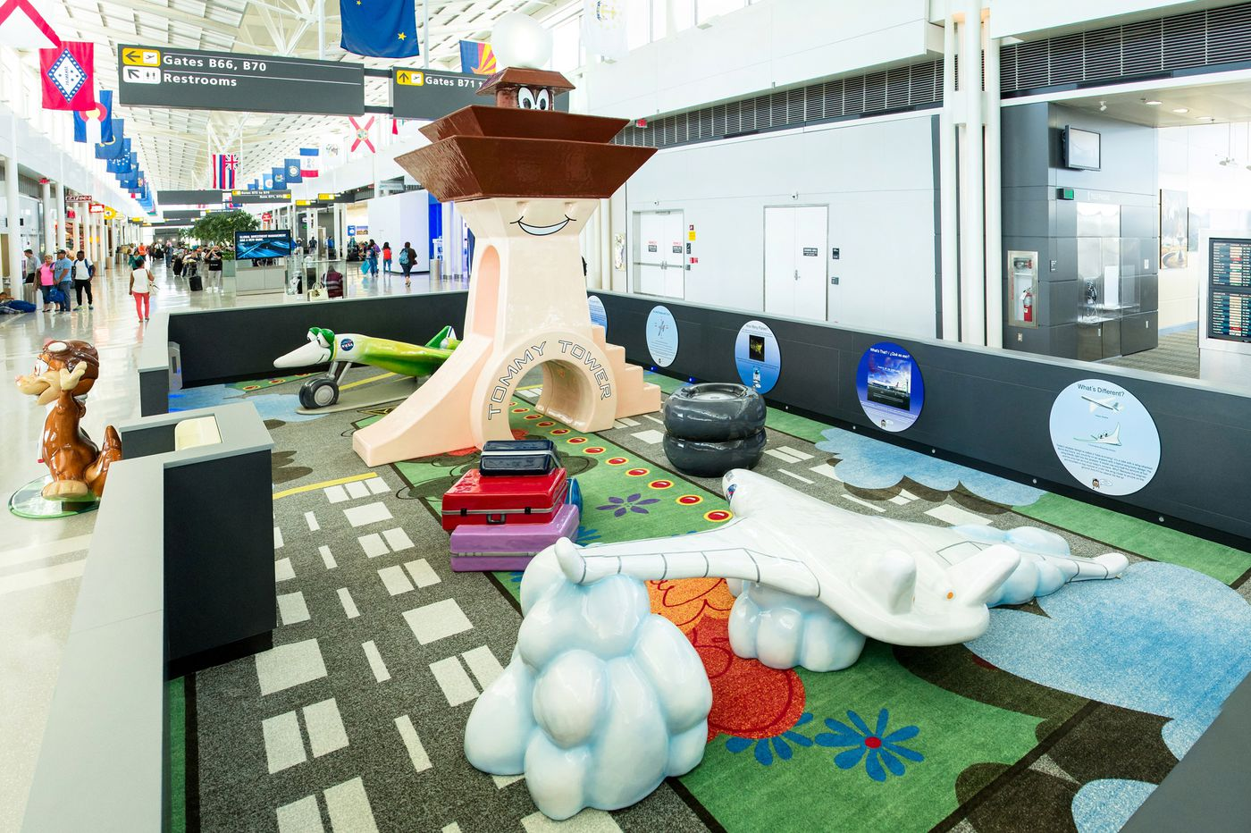 At airports around the world, kid play spaces take off