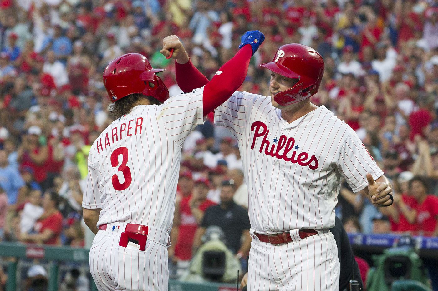 Bryce Harper homers twice, Phillies break out for 11 runs to rout Cubs in Charlie Manuel's first game as hitting coach