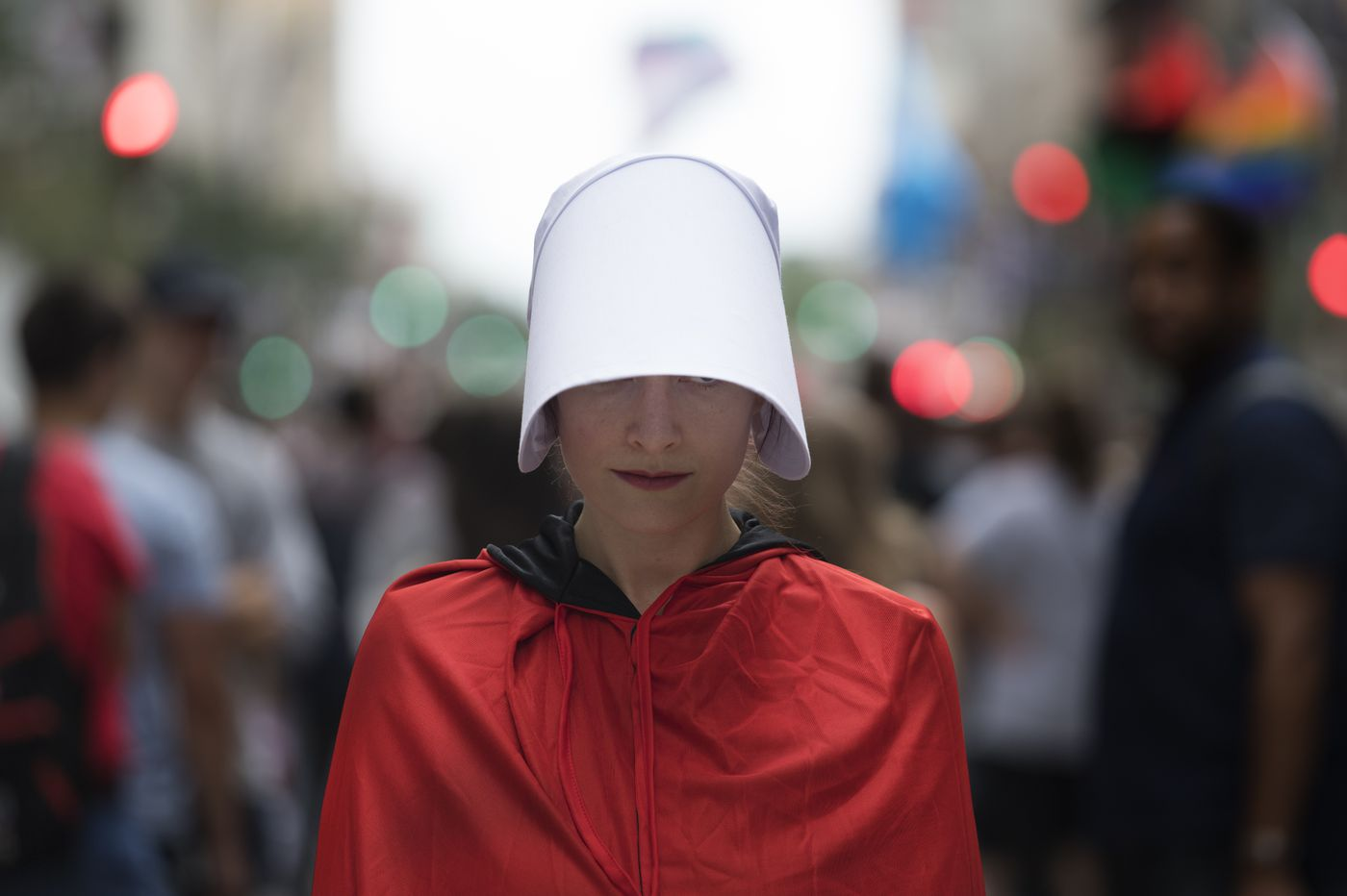 Women dressed in 'Handmaid's Tale' garb protest Pence in Philly